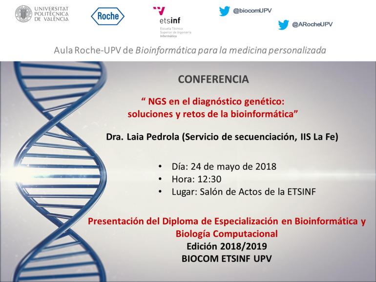 Anuncio de conferencia Aula Roche-UPV en torno a bíoinformática