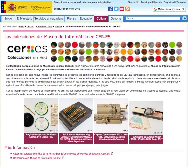 (Español) El Museo de Informática en la Red Digital de Museos de España CER.ES