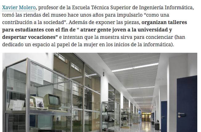 Hoja de Router recorre els museus d'informàtica d'Espanya i arriba a l'ETSINF