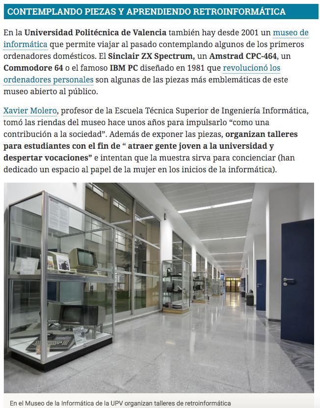 Hoja de Router recorre los museos de informática de España y llega a l'ETSINF