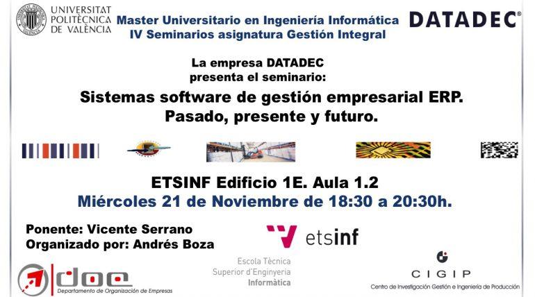 (Valencià) Seminario: Sistemas software de gestión empresarial ERP.  Pasado, presente y futuro.