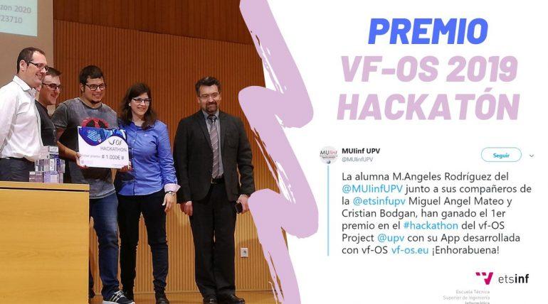 Alumnado de ETSINF y MUIINF ganadores del VF-OS 2019 Hackatón