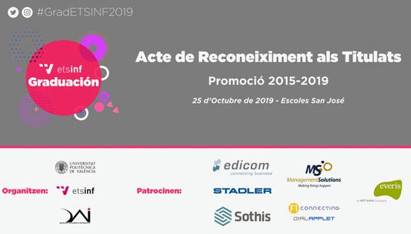 (Español) El 25 de octubre se celebra #GradETSINF2019 Acto de graduación de la promoción 2015-2019