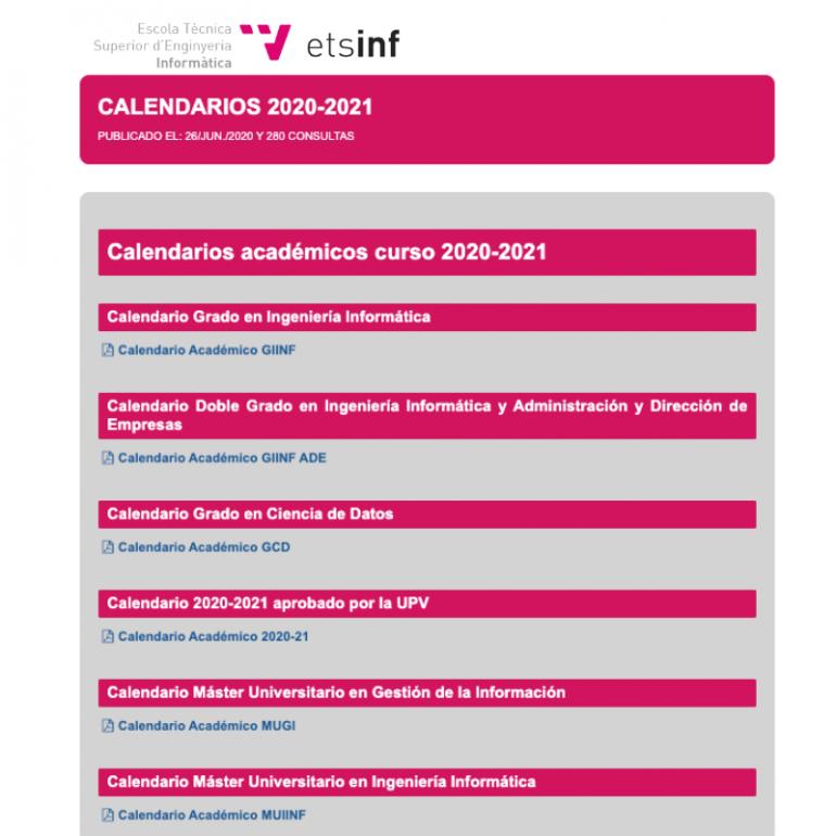 (Español) Calendarios académicos para el curso 20/21