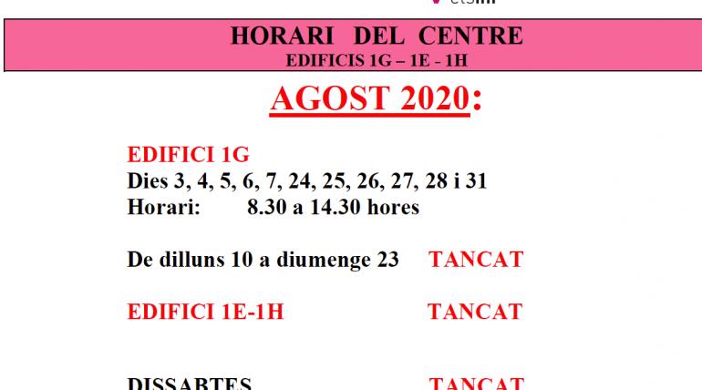 (Español) Horario del centro durante agosto de 2020