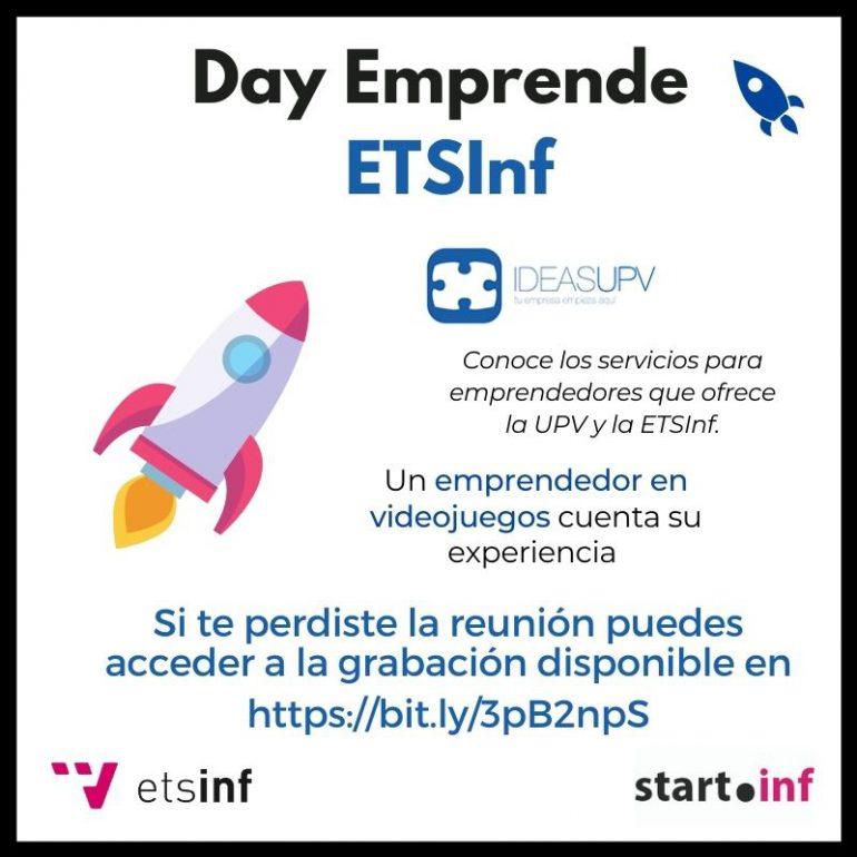 (Español) Accede a la grabación del Day Emprende de la ETSInf que se celebró el pasado 16 de noviembre