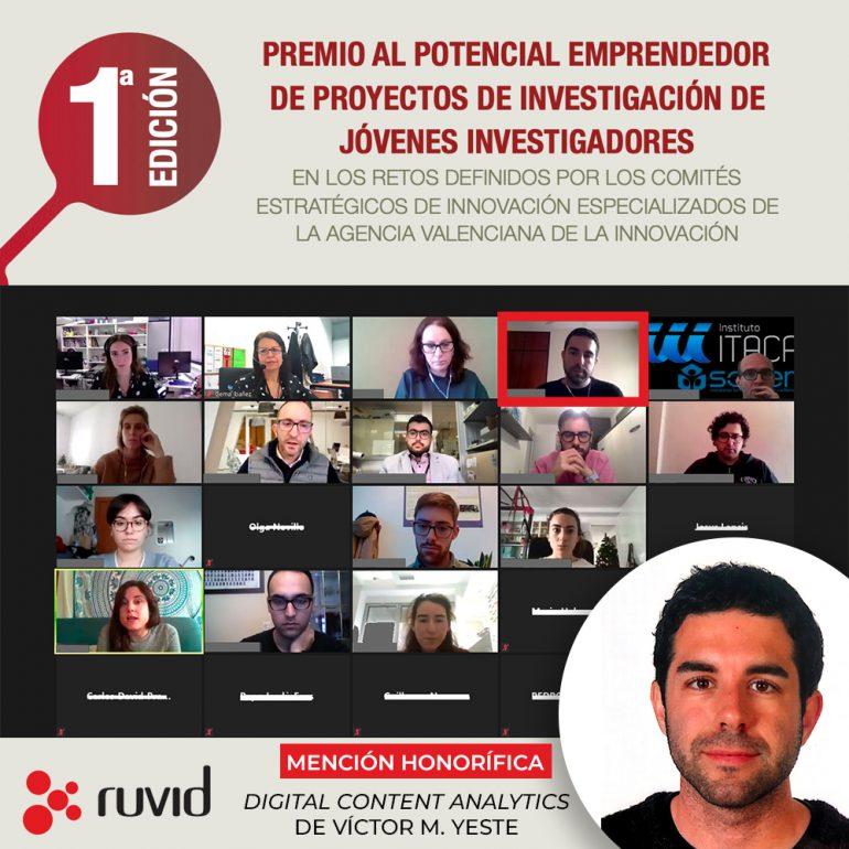 Víctor Yeste, mención honorífica en el Premio al Potencial Emprendedor de Jóvenes Investigadores 2020 de la RUVID