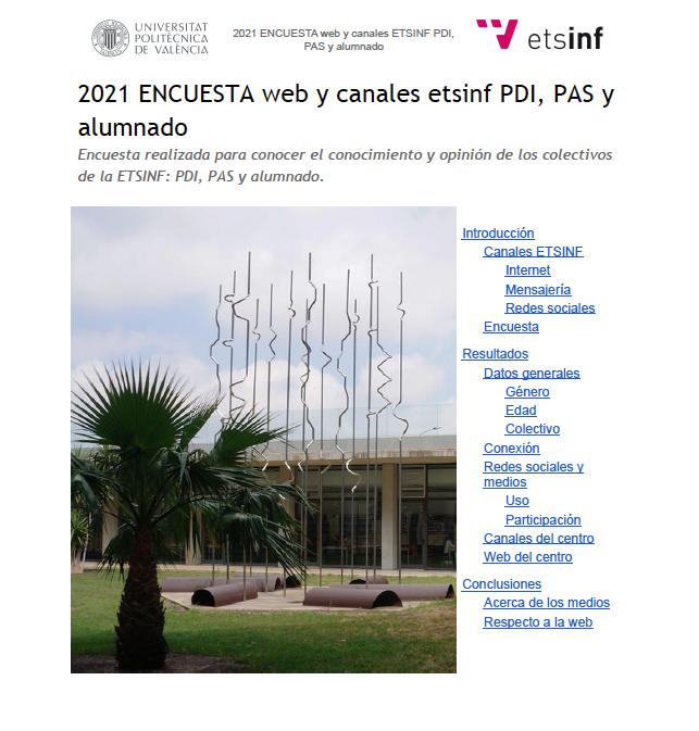 (Español) Resultados de encuesta de valoración de la web y canales de ETSINF edición 2021