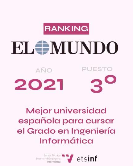 UPV (ETSINF) Tercera mejor universidad española para cursar Ingeniería Informática