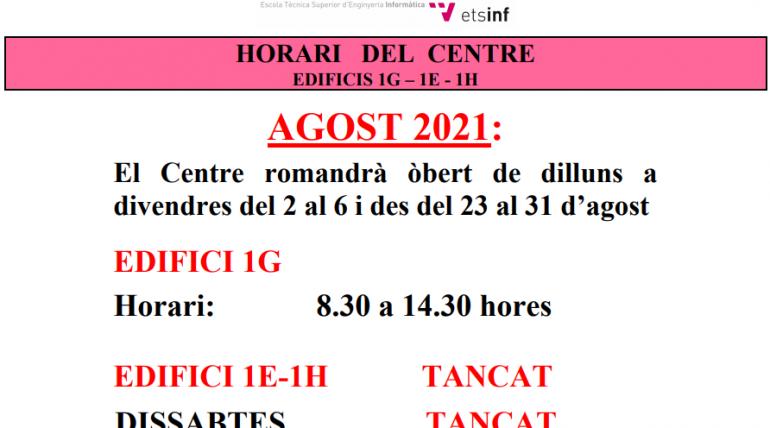 (Español) HORARIO DEL CENTRO DURANTE AGOSTO DE 2021