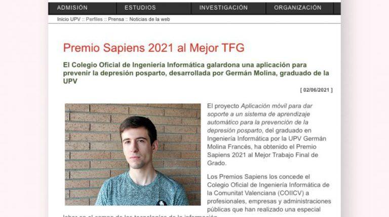 Germán Molina, Premio Sapiens 2021 al Mejor Trabajo Fin de Grado